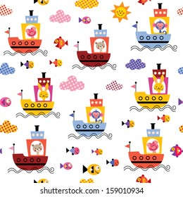 cute animals in boats kids sea pattern