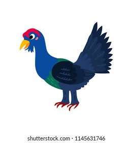 Cute animals - capercaillie. Illustrations for children. Baby Shower card. Cartoon character Tetrao bird isolated on white background. Europe animal wildlife