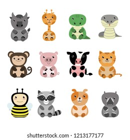 Cute animals cartoon collection.