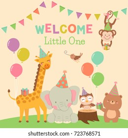 Cute animals cartoon illustration for baby shower card design template