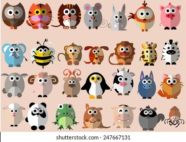 cute animals cartoon illustrator flat design