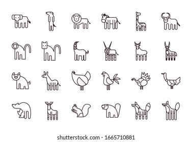 Cute animals cartoons line style icon set design, zoo life nature character childhood and adorable theme Vector illustration
