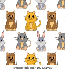 cute animals character background design