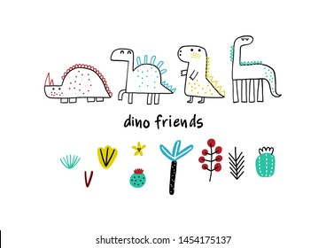 Cute animals. Childish illustration with plants and dinosaurs. Design for poster, card, bag and t-shirt. Scandinavian style.