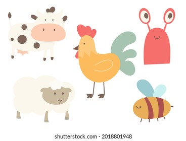 Cute animals clipart isolated set. Boho nursery prints – cow, sheep, bee, chicken, lobster. Kids vector illustration.