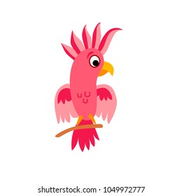 Cute animals - cockatoo parrot. Illustrations for children. Baby Shower card. Cartoon character bird isolated on white background. Australia animal wildlife