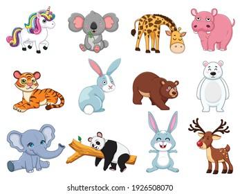 Cute animals collection. animal isolates in cartoon flat style. white background. Vector illustration design template. Farm animals, wild animals, water animal