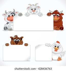 Cute Animals Collection. Cartoon Farm Animals with Banners and Signs. Vector Ready for Your Text and Design.