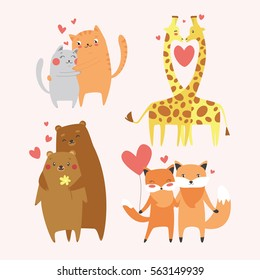 Cute animals couples in love collection. Happy Valentine's day postcard. Vector illustration. Wild animals set