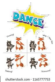 Cute animals dancing concept illustration
