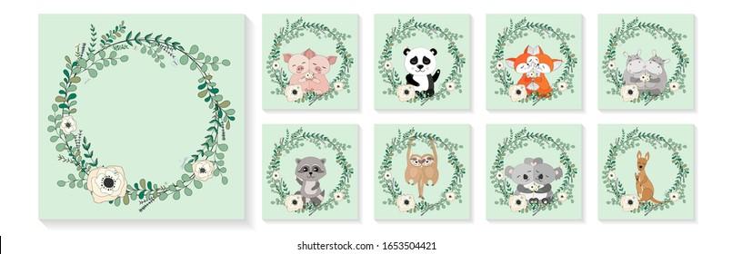 Cute animals, eucalyptus and flower wreath. Greeting cards, posters, banners set. Pigs, panda, foxes, hippos, raccoon, sloths, koalas, kangaroos in hugs. Hand drawn vector illustration.