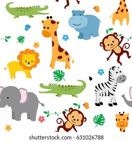 Cute animals fabric seamless pattern with flowers and butterflies.