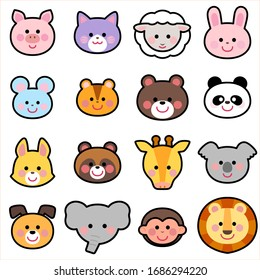 Cute Animals Face Icon Illust Set blackline