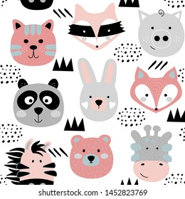 Cute animals face texture. Seamless childish pattern with funny bunny, bear, panda, fox, raccoon, pig, tiger, giraffe. Rainbow vector illustration print isolated on white background.