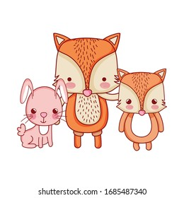 cute animals, family foxes and rabbit cartoon vector illustration