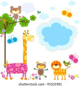 cute animals and flowers background