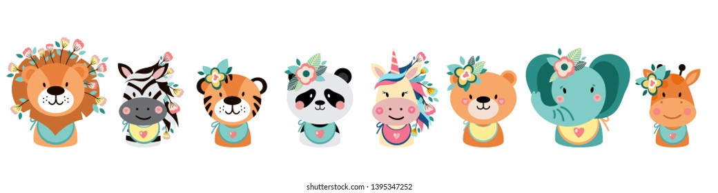 Cute animals with flowers. Vector illustrations for nursery design, poster, birthday greeting cards. Lion, zebra, tiger, panda, elephant, bear, unicorn, giraffe. - Vector