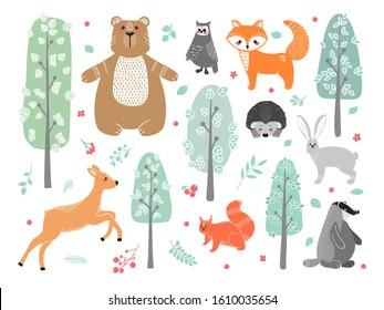 Cute animals: fox, badger, squirrel, owl, deer, doe, roe deer, hare, rabbit, hedgehog, bear and different elements. Illustration hand drawn in scandinavian style.