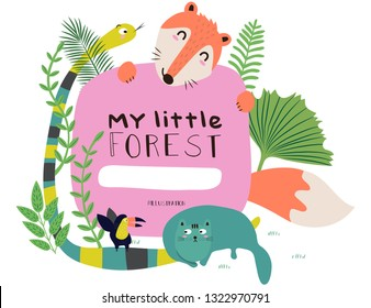 Cute Animals Fox, Snakes, Bird and Cat happy in my little forest pattern. Vector illustration.