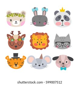 Cute animals with funny accessories. Set of hand drawn smiling characters. Cartoon zoo. Cat, lion, panda, dog, tiger, deer, bunny, mouse and bear. Vector illustration