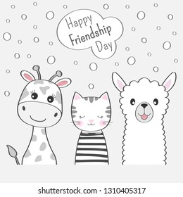 Cute animals giraffe, cat and llama best friends. Happy friendship day. Kids graphics for t-shirts. Greeting card.