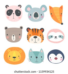 Cute animals. Hand drawn characters. Vector illustration.
