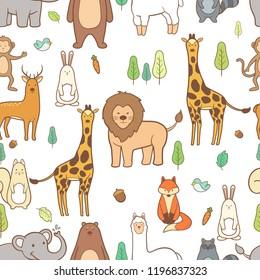 Cute animals hand drawn seamless pattern background