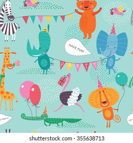 Cute animals have a party. Cartoon seamless pattern on a blue-green background for childish design. Seamless pattern can be used for backgrounds, surface textures, wallpapers, pattern fills.