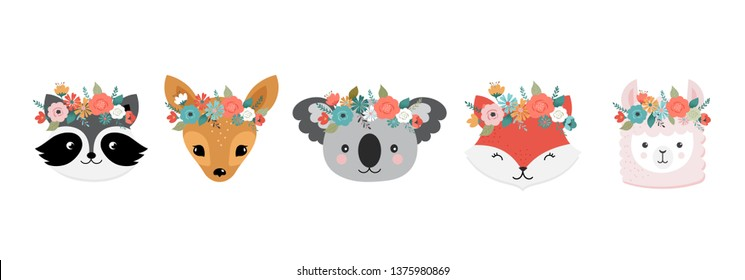 Cute animals heads with flower crown, vector illustrations for nursery design, poster, birthday greeting cards. Panda, llama, fox, koala, raccoon, cat, dog and bunny