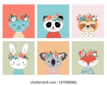 Cute animals heads with flower crown, vector illustrations for nursery design, poster, birthday greeting cards. Panda, llama, fox, koala, cat, dog, raccoon and bunny