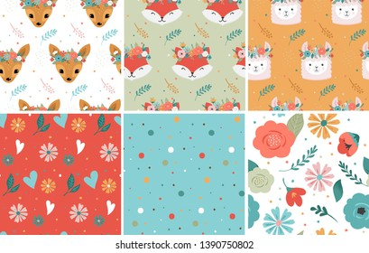 Cute animals heads with flower crown, vector seamless pattern design for nursery, poster, birthday greeting cards. Panda, llama, fox, coala, cat, dog, racoon and bunny