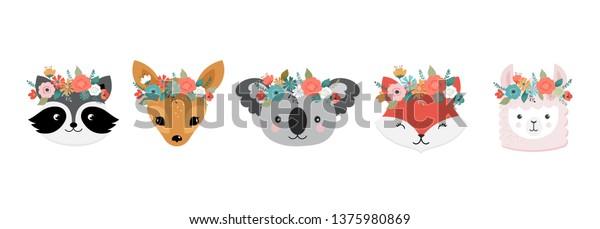 Cute animals heads with flower crown, vector illustrations for nursery design, poster, birthday greeting cards. Panda, llama, fox, koala, raccoon, cat, dog and bunny