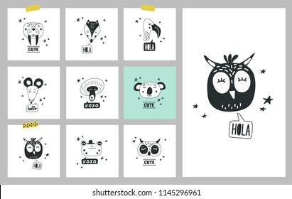 Cute animals heads set of vector illustrations. Design element, cards with hand drawn faces of wild animals and birds in cartoon modern style