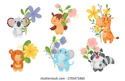 Cute Animals Holding Flower on Stalk with Their Paws Vector Set