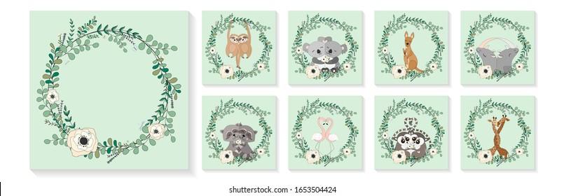 Cute animals hug, eucalyptus and flower wreath. Sloths, koalas, kangaroos, rhinos, raccoons, flamingos, lemurs, giraffes. Greeting cards, posters, banners set. Hand drawn vector illustration.
