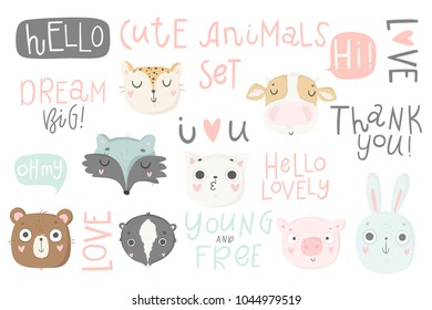 Cute animals isolated illustration and lettering for children. Vector image. Perfect for nursery posters, patterns, party invitation, cards, tags etc