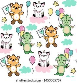 Cute animals kawaii style cat unicorn, bear and dragon on a white background seamless pattern