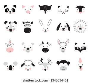 Cute animals for kids and baby t-shirts and wear, nursery posters for baby room, greeting cards. Scandinavian style, vector illustration.
