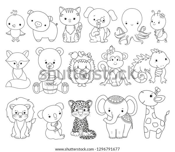Cute Animals Line Art Set Cartoon   Royalty-Free Stock Image