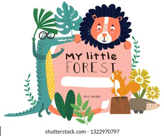 Cute Animals Lion, Crocodile, Squirrel and Pangolin happy in my little forest pattern. Vector illustration