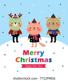 cute animals merry christmas and happy new year greeting vector