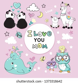 Cute animals moms and kids and the inscription I love you mom on a pink background