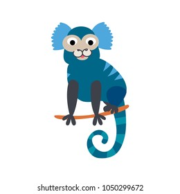 Cute animals - monkey jacchus. Illustrations for children. Baby Shower card. Cartoon character primate isolated on white background. South America animal wildlife