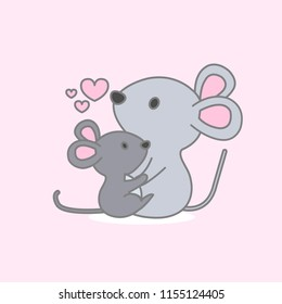 Cute animals for Mother's Day. Mouse mom and baby.