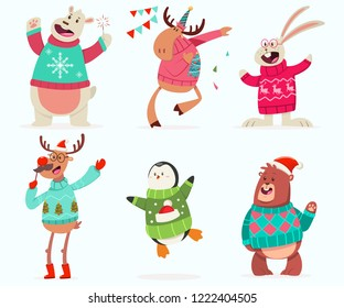 Cute animals on the party in an Ugly Christmas Sweater. Vector cartoon funny character set isolated on a white background.