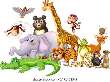 Cute animals on white background illustration