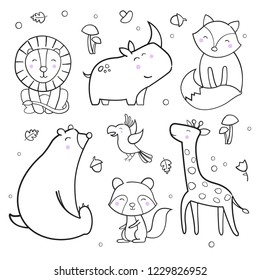 Cute Animals Outline Vector Background