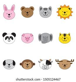 Cute animals, pig, tiger, lion, dog, Monkey, rabbit, bear, cat, panda, elephant, cow and deer.