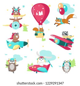 Cute animals in pilot hats and glasses. Vector illustration of raccoon fox squirrel bear deer hedgehog owl rabbit flying on airplane, hot air balloon, biplane, balloons isolated on white background.