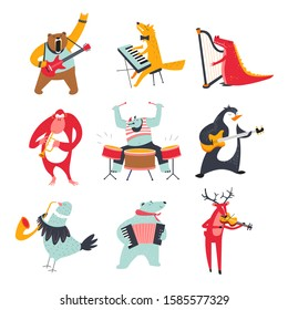 Cute animals playing various music instruments at zoo concert set